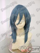 45cm medium long GREY BLUE cosplay wig fashion DARK BLUE shoulder FREE SHIPPING