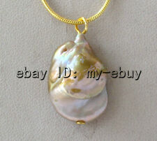 "Lavender Brown Rainbow Keshi Keishi Pearl Pendant 18"" 18KGP Golden Chain"