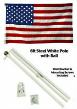 2x3 2'x3' USA American 50 Star Flag White Pole Kit Gold Ball Top