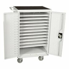 """Learniture NOR-GNO1007GRA-SO Assembled 24-Outlet Tablet Recharging Cart, 40"""""""