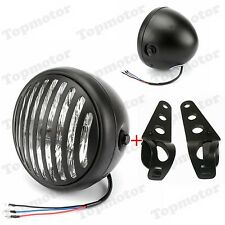 Motorcycle Finned Grill Headlight HeadLamp W/ Bracket 4 Cafe Racer Custom Black