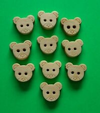 10 x Teddy Bear Plain Wooden Buttons ~ Baby Child Birthday Christmas Crafts