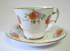 VINTAGE 1920'S DECO PHOENIX BONE CHINA T.F.S. LTD  CUP AND SAUCER PINK ORANGE