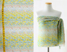"Chiffon Fabric Floral Watercolor Striped Foam Green Yellow White Blush 59""W x 2y"