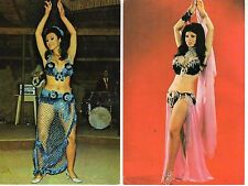 Lot of 2 TURKISH BELLY DANCER Middle East color ca. 1980s unused Eastern dancers