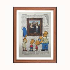 The simpsons vs grant wood-american gothic-dictionnaire art print home cadeau