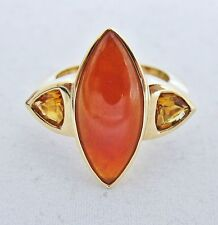14K Gold Ring with A Grade Red JADEITE Jade & Citrine w/ COA  (10.8g, size 6.75)
