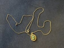Natural Light Green Jade Yellow Gold Plated Pendant and Necklace
