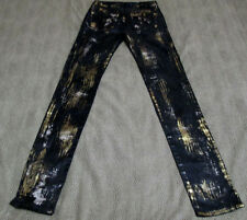 "ROCK & REPUBLIC STRETCH BLACK SILVER AND GOLD JEANS SIZE 25 33 1/2"" INSEAM NICE"