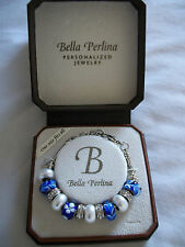 BELLA PERLINA SILVER BRACELET BLUE MURANO GLASS & SWAROVSKI CRYSTAL CHARMS *NIB*