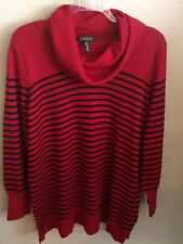 NWT~RALPH LAUREN  PLUS~RED/BLACK STRIPE COWL NECK SWEATER/TOP~SIZE 2X~NEW~$120