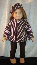 "Doll Clothes fit American Girl 18""inch Fleece Jacket Leggings Beret' 3pcs Tiger"