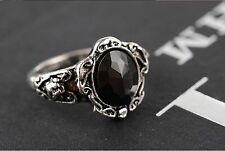 Black Crystal Ring Vintage Womens Retro Goth New Rhinestone Ladies Girls Emo