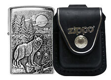 Zippo Lighter 20855 Timber Wolves Emblem + LPLBK Black Leather Pouch Clip