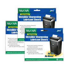 3 PACKS Nuova Shredder Sharpening & Lubricant Sheets (36 counts)