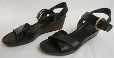 COLE HAAN Womens Shoes Black Leather Size 9 1/2B NIKE AIR Heel Wedge