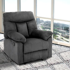 "35.5"" Wide Faux Suede Recliner Sofa Reclining Chair Living Room Furniture Gray"