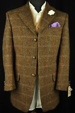 "Vtg Harris Tweed Mario Barutti Checked Tailored Hacking Jacket 38"" Short SUPERB"