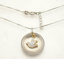 Natural Diamond PEACE Pigeon Pendant Necklace Chain Real 925 Sterling Silver