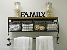 Black Metal & Wood Shelf with Baskets & 8 Hooks Shabby Chic Home Wall Decor