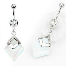 """1 Pc 14g 3/8"""" Opalite precious stone double gem belly ring surgical steel shaft"""