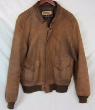 Men's Perrone Aviation Apparel Bomber Leather Jacket Brown Medium-USA 44