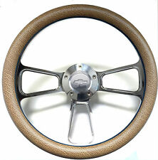 "1960 -1969 Chevy C10 C20 C30 Truck 14"" Tan Snakeskin & Billet Steering Wheel Kit"