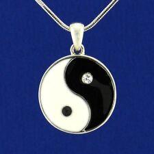 "Yin Yang w Swarovski Crystal Black White Enamel 18"" Chain Pendant Necklace Gift"