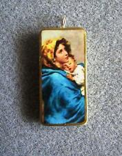 Our Lady of the Wayside Virgin Mary Catholic Art Recycled Domino Necklace OLW2