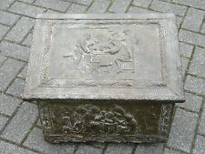 Antique Hand Hammered BRASS COAL or KINDLING Box TAVERN SCENE - Repousse