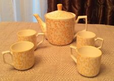 Pier One Yellow Vine Teapot With 4 Matching Cups ~Adorable Set! Vintage Pier 1