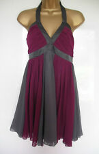 LIPSY RIBENA-NIGHTFALL PURPLE/GREY HALTER NECK DRESS UK SIZE 10