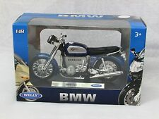 Welly 1/18 Diecast Model Classic Motorcycle BMW 75/5 Blue