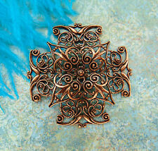 ANTIQUE COPPER Cross Filigree Stamping ~ Ornament Findings (CB-3043) `