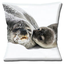 """CUTE SEAL AND SEAL PUP 'KISS FOR MUM' ON SNOW AND ICE 16"""" Pillow Cushion Cover"""