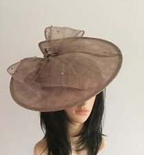 MINK BROWN DISC FASCINATOR HAT ASCOT WEDDING OCCASION MOTHER OF THE BRIDE