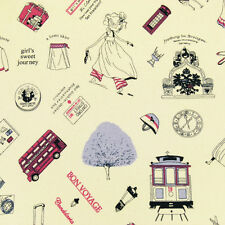 FQ. Linen Look Travel Girl Camera Airplane Train Bus & Bicycle Cotton Fabric M22