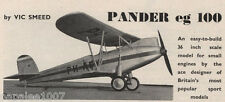 "Model Airplane Plans (FF): 1926 PANDER EG.100 scale 36"" Biplane for .049 (.8cc)"