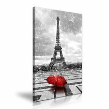 Paris Eiffel Tower Rain Red Umbrella Canvas Wall Art Print  50x76cm