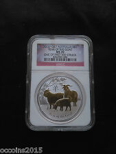 2015 P Australia Silver Gilded Lunar Goat NGC MS69 One of first 500 Struck!!!