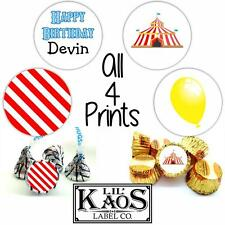 108 Carnival Stickers Labels Birthday with Name Kisses Candy Party Favors Circus
