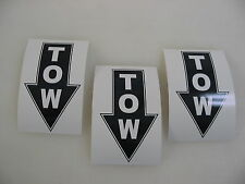 3 TOW BLACK Decal Stickers to Fit Airplane Race Boat Drag Car Street Racer Drift