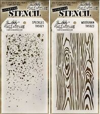 Tim Holtz Layering Stencil Template - Speckles & Woodgrain - 2 Pack