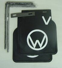 VW Split Oval Bug Accessory black Mud Flaps with white Logo pair with brackets