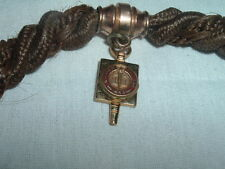 VICTORIAN HAIR MOURNING POCKET WATCH CHAIN RUBY GOLD 1853 COLLEGE WATCH FOB