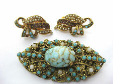Vintage ART Clip Earrings and AUSTRIA BROOCH with Turquoise Cab, purples, pearls