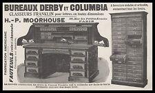 Publicité Materiel de Bureau Classeur DERBY COLUMBIA vintage print ad 1900 - 3h