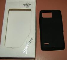 Boxwave FlexiSkin one piece slip on Black Rubber case for Moto Droid Bionic, new