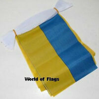 UKRAINE FLAG BUNTING Ukrainian 9m 30 Fabric Party Flags Europe European