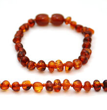BALTIC AMBER BRACELET / ANKLET, DARK COGNAC POLISHED BEADS, SCREW CLASP, 16 CM